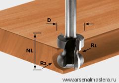 Фреза FESTOOL для профилирования пазов под ручки с хвостовиком 8 мм HW S8 D22/16/R2,5+6