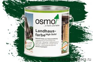 Непрозрачная краска для наружных работ Osmo Landhausfarbe 2404 темно-зеленая 2,5 л