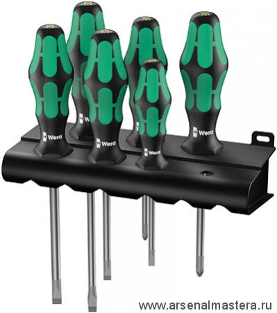 Набор отверток Wera Kraftform Plus Lasertip 334/355 SK/6 + подставка. WE-007681