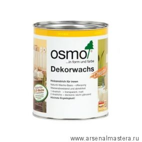 """Цветное масло для древесины """"Креатив"""" Osmo Dekorwachs Creativ 3186 Белое матовое, 0,75л"""