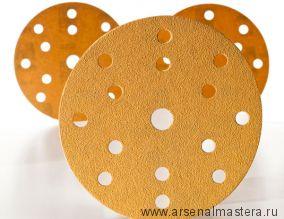 Шлифовальный круг на бумажной основе липучка  Mirka GOLD 150мм 15 отверстий P180 в комплекте 100шт