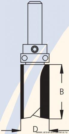 Фреза концевая обгонная для работы по шаблону W.P.W. PF72542