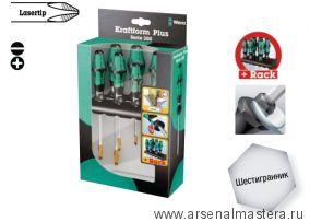 Набор отверток Kraftform Plus Lasertip + подставка WERA 334 SK/6 Rack